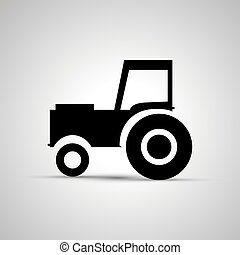 Tractor silhouette, side view simple black icon