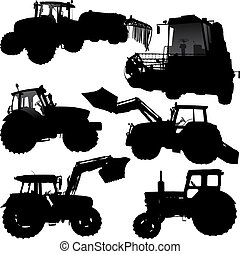 Tractor silhouettes - Set of vector silhouettes of tractor ...