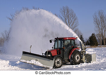 Tractor snow blower after a snowstorm