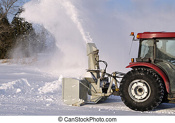 Tractor snowblower after a snowstorm