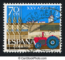 Tractor - SPAIN - CIRCA 1964: stamp printed by Spain, shows...