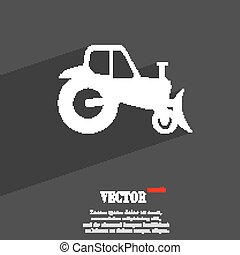 Tractor symbol Flat modern web design with long shadow and space for your text. Vector
