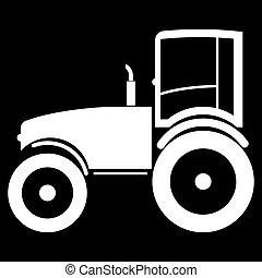 Tractor the white color icon .