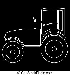 Tractor the white path icon .