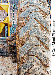 Tractor Tire on Construction Site