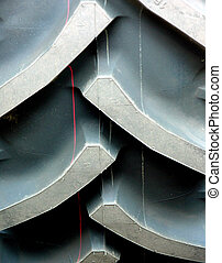 Tractor tire - Tread of tractor new tire. Paint markings...