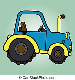 Tractor toy cartoon pattern vector illustration EPS icon.