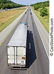 Tractor Trailer Truck On Interstate