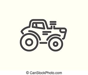 Tractor transport line icon. Agriculture farm vehicle sign. Vector