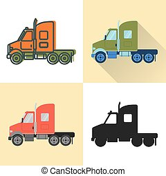 Tractor truck icon set in flat and line styles