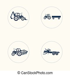 Tractor, truck icons set with higher lift, tiller