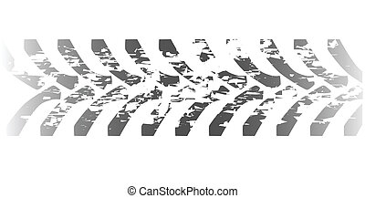 Tractor tyre marks isolated over a white background
