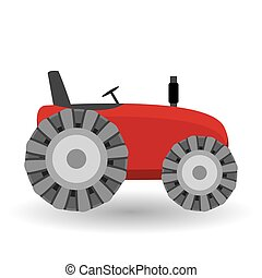 Tractor. Vector illustration of a red tractor in a flat style isolated on white background. Heavy agricultural machinery for field work