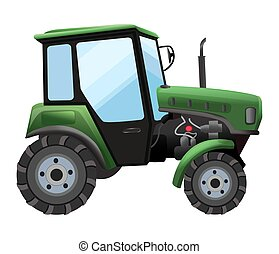 Tractor. Vector illustration of green tractor in a flat style isolated on white background. Heavy agricultural machinery for field work
