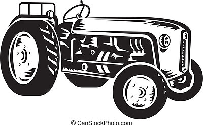 tractor, vendimia, woodcut, retro