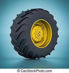 Tractor wheel isolated