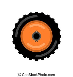 Tractor wheel isolated. Wheel trolley vector illustration