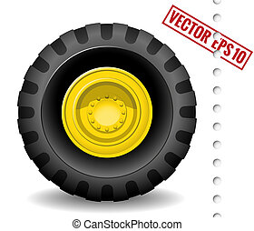 Tractor wheel isolated on white background. Vector