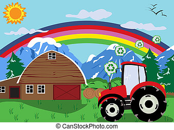 Vector illustration of a tractor wheel with recycling fuel