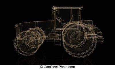 Tractor. Wireframe triangle formation of 3d Model tractor. Rotating 360 Degree. 4k animation
