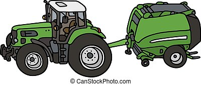 Hand drawing of a green tractor with the hay binder - not a real model