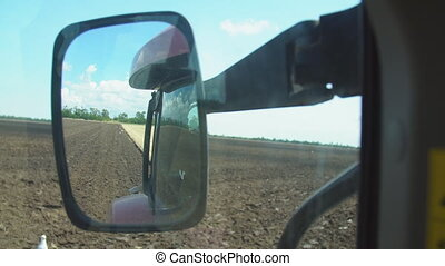 tractor with a plow cab view - tractor with a plow on the ...