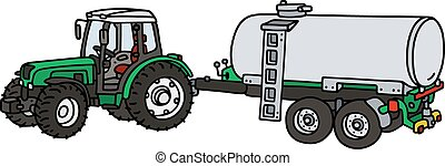 Hand drawing of a green tractor with the pole tank trailer - not a real model