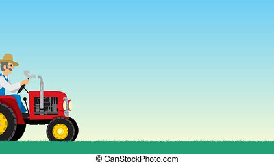 Tractor with Background - Looping animation of farmer...