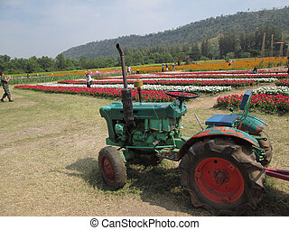 tractor with colorful flower