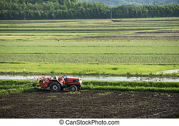 Tractor with cultivator in the field before plowing