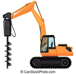 Tractor with drill for digging hole