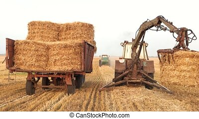 Tractor with fork grabber folding hay blocks.