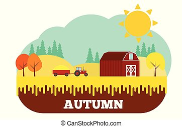 Tractor with Harvest at the Farm in Autumn Flat Design