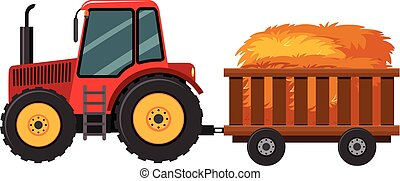 Tractor with hay in the cart