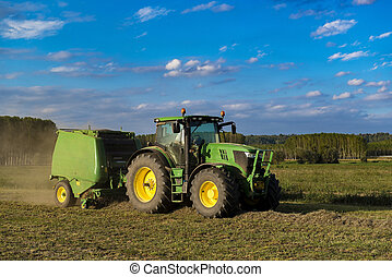 Tractor with machinery for making bales of hay - Tractor ...