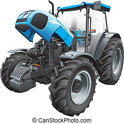tractor with open hood - Detail vector image of modern blue...