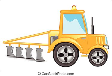 Tractor with plow - Yellow tractor with plow on white...