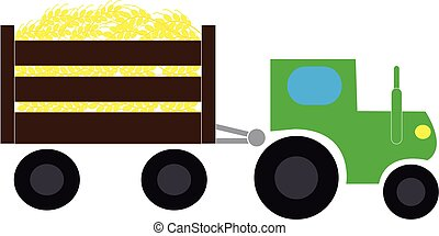Tractor with tow on white background