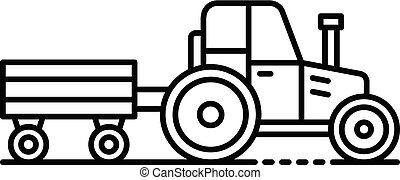 Tractor with trail icon, outline style