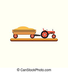 Tractor with trailer transporting grain vector Illustration on a white background