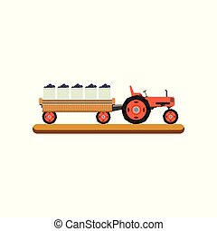 Tractor with trailer transporting ripe grape vector Illustration on a white background