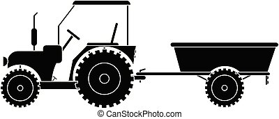tractor with trailer vector eps 10