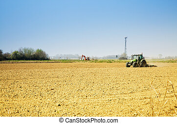 Tractor working in the fields
