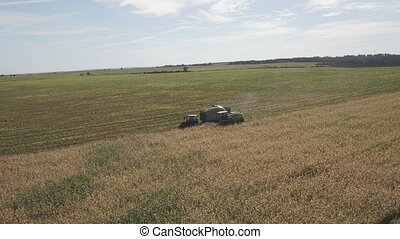 Tractors and farm machines harvesting corn in field - Aerial...