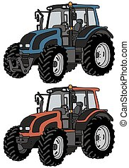 Hand drawing of two tractors - not a real model