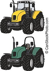 Hand drawing of yellow and green tractors - not a real model