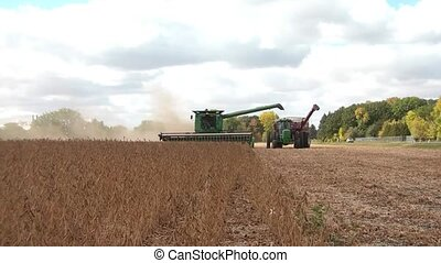Tractors Harvesting in Fall