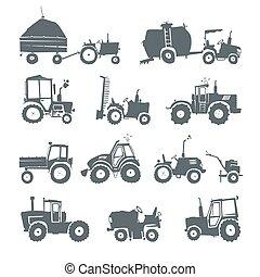 Tractors icon set