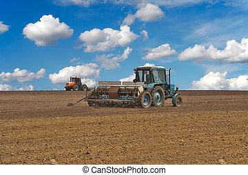 Tractors in the field