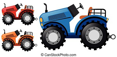 Tractors in three colors